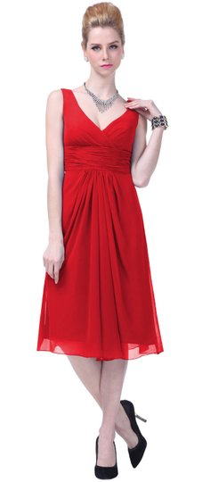 Red Chiffon Graceful V-neck Pleated-waist Tea Length Casual Wedding Dress Size 0 (XS)