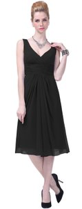 Black Graceful V-neck Pleated-waist Tea Length Chiffon Dress