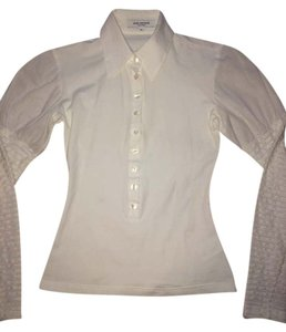 Anne Fontaine Long Sleeve Blouse Collar Button Down Shirt White