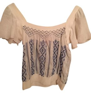 Free People Bohemian Hippie Freepeopleshirt Top white and blue