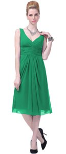 Green Graceful V-neck Pleated-waist Tea Length Chiffon Dress