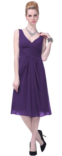 Purple Chiffon Graceful V-neck Pleated-waist Tea Length Formal Bridesmaid/Mob Dress Size 8 (M)