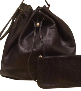 Fendi Italy Handbag Ostrich Leather Bucket Shoulder Bag