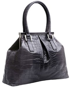 Bill Blass Leather Alligator Crocodile Tote in Grey Ombre