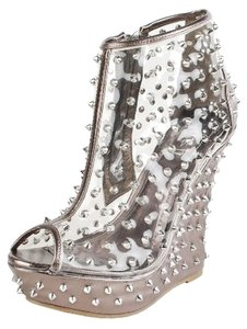 Other Spiked Transparent Studded Bootie Platform Pewter Wedges