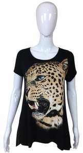 Other Shirt Cheetah Sheer Top Black