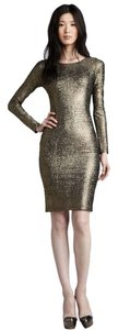 Alice + Olivia Open Back Metallic Mesh Exposed Zipper Dress