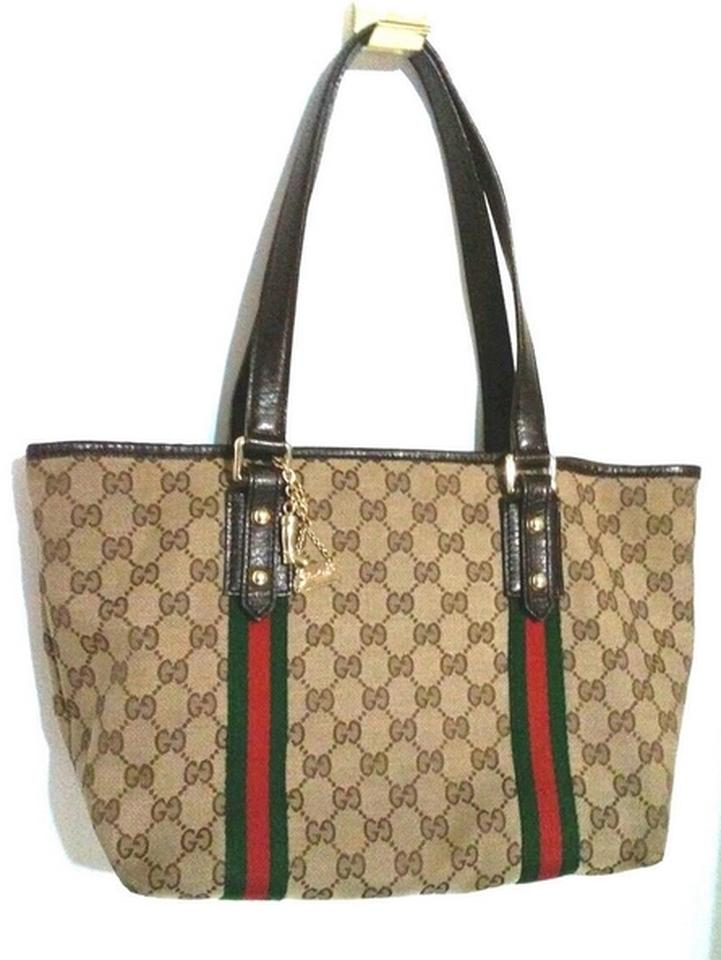 97b8916b6f0 Gucci Signature Monogram Jacquard Code  137396 467891 Golden Charms Tote in  Brown Image 0 ...