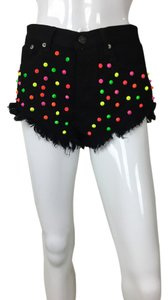 Color Spikes Black Green Cut Off Shorts Multi
