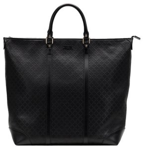 Gucci Leather Diamante Unisex Designer Travel Tote in Black