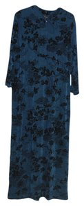 Blue w/Black Design Maxi Dress by Slinky Brand