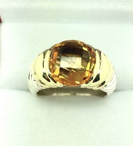 David Yurman David Yurman Capri Citrine 925 Sterling Silver & 14K Gold Ring