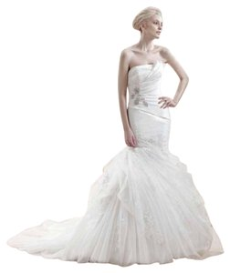Enzoani Ivory Silk Organza Tulle Everette Formal Wedding Dress Size 10 (M)