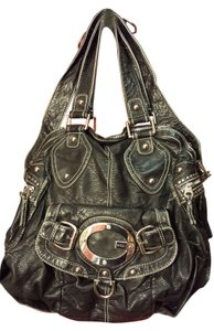 Guess By Marciano Faded Leather Zipper Leather Leather Hobo Bag