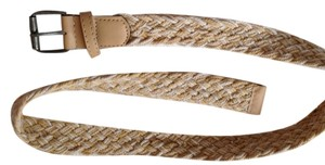 Other Cotton Braided Belt with leather trim and chrome buckle