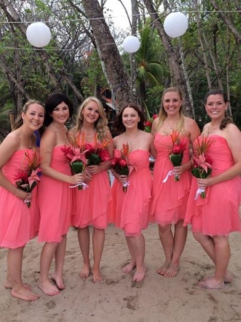 Item - Coral Reef Polyester Short Crinkle Chiffon Front Cascade Style F14847 Destination Bridesmaid/Mob Dress Size 2 (XS)