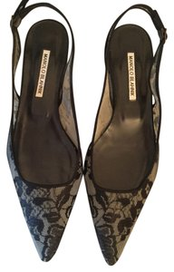 Manolo Blahnik Lace Holiday Lace Lace Slingback Black Flats