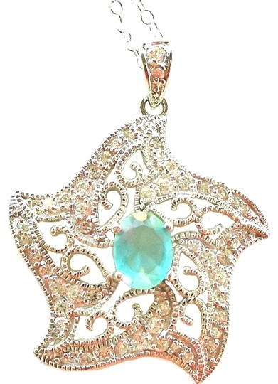 Preload https://item5.tradesy.com/images/blue-925-sterling-silver-filigree-star-pendant-genuine-and-white-topaz-necklace-916479-0-0.jpg?width=440&height=440