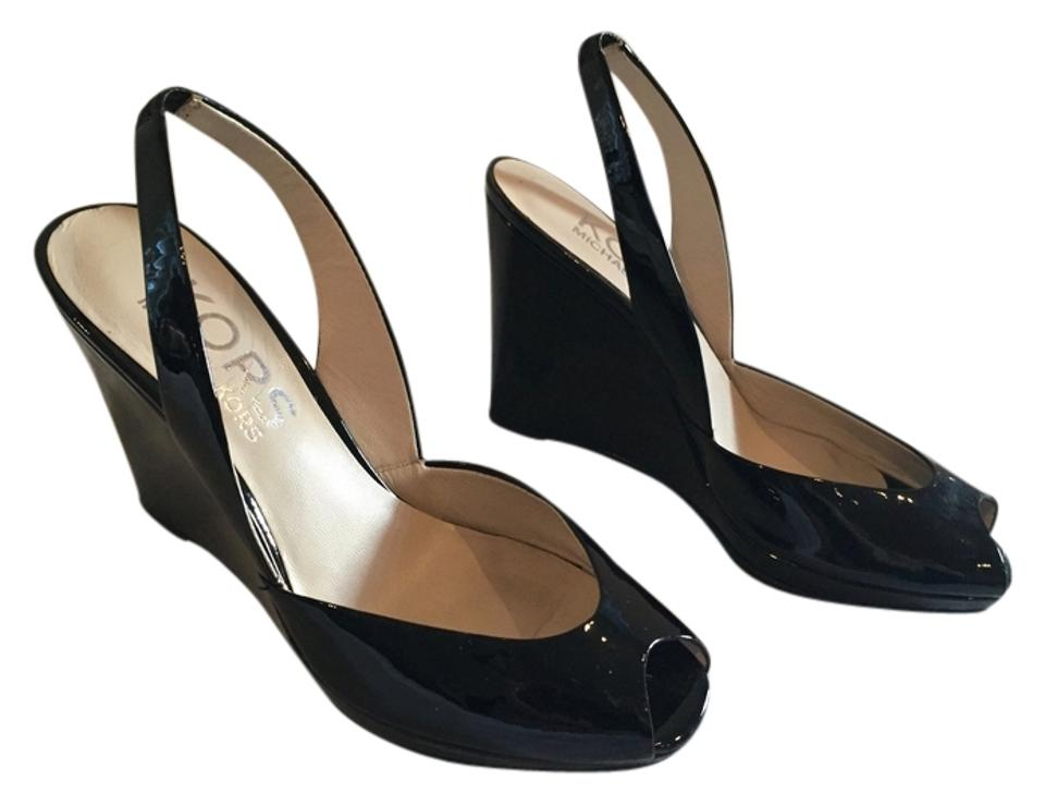 23bc3fe03de Michael Kors Black Vivian Slingback Patent Leather Wedges Size US ...