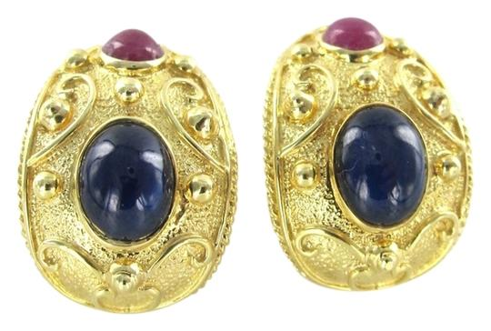Preload https://item4.tradesy.com/images/gold-14kt-yellow-solid-sapphire-ruby-huggies-cabochon-vintage-design-earrings-916488-0-0.jpg?width=440&height=440