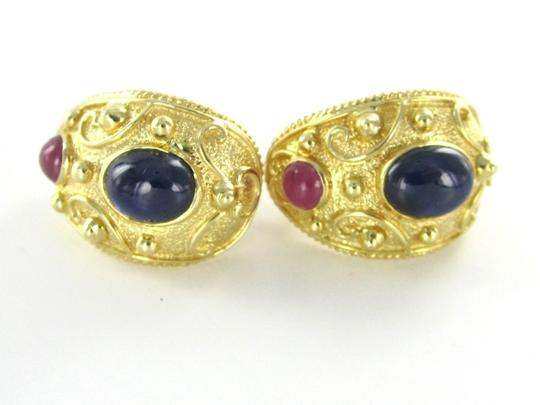 Other 14KT YELLOW SOLID GOLD EARRINGS SAPPHIRE RUBY HUGGIES CABOCHON VINTAGE DESIGN