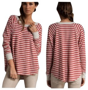 Free People T Shirt red and cream stripes
