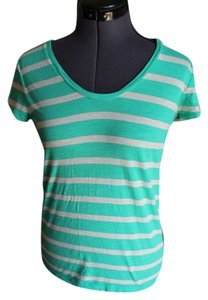 Ann Taylor Patterned Striped T Shirt Green