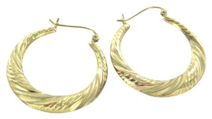 Other 10KT YELLOW GOLD EARRINGS DIAMOND CUT HOOP MEDIUM SIZE FINE JEWELRY 2.1 GRAMS