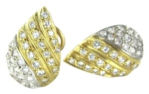 14KT YELLOW WHITE SOLID GOLD EARRINGS TEARDROP 64 DIAMOND 1.25 CARAT FINE JEWEL