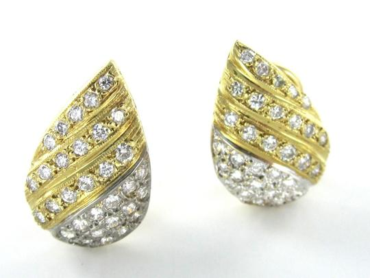 Other 14KT YELLOW WHITE SOLID GOLD EARRINGS TEARDROP 64 DIAMOND 1.25 CARAT FINE JEWEL