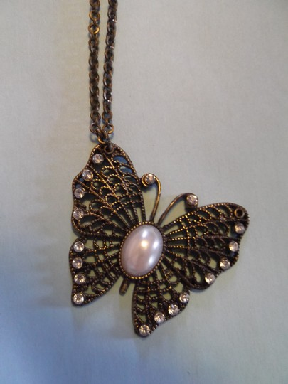 Other Beautiful Coppery Intricate Butterfly with Faux Pearl