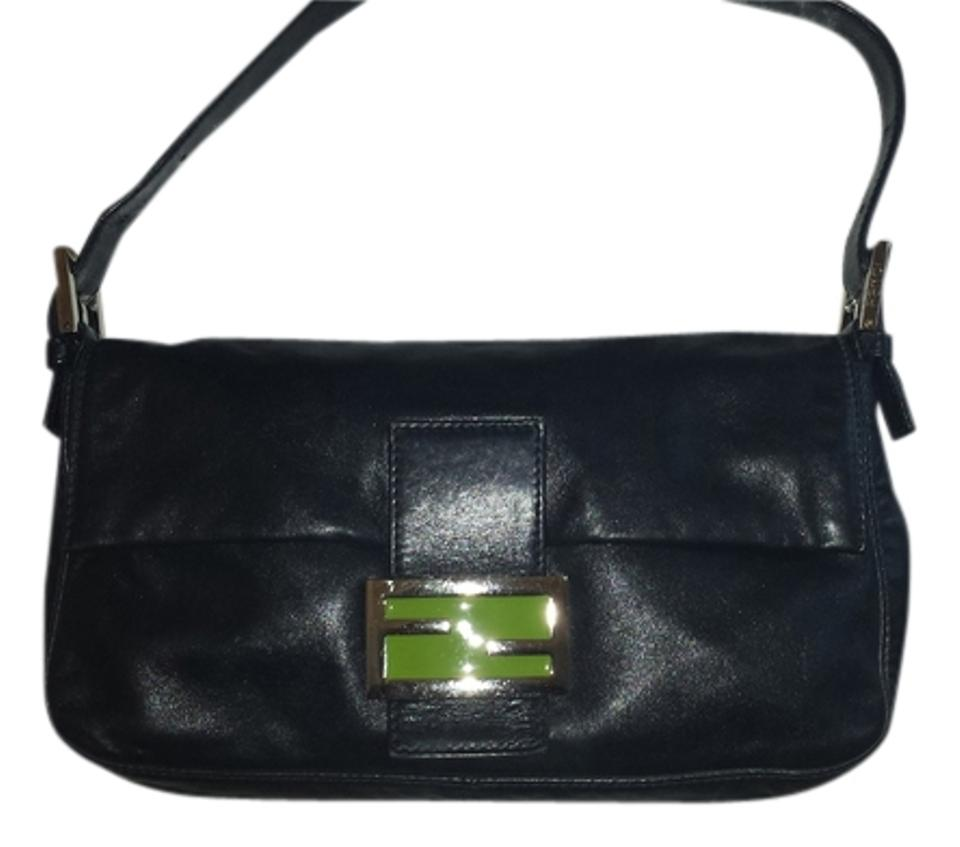 072ede407e0d Fendi Black Leather with Green Satin Lining Baguette - Tradesy