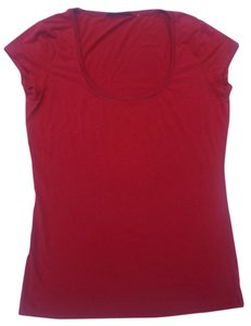 Elie Tahari Scoop Neck Sleeve Knit Tees Blouse T Shirt Red