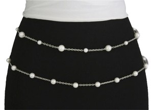 Women Belt Drop Fashion Silver Chains Hip Waist Circle Imitation Pearl Beads Strand