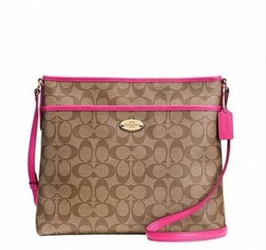 Coach Messenger Crossbody Khaki/ Pink Ruby Messenger Bag
