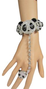 Other Women Silver Panda Bear Head Bracelet Fashion Hand Chains Slave Ring Rhinestones