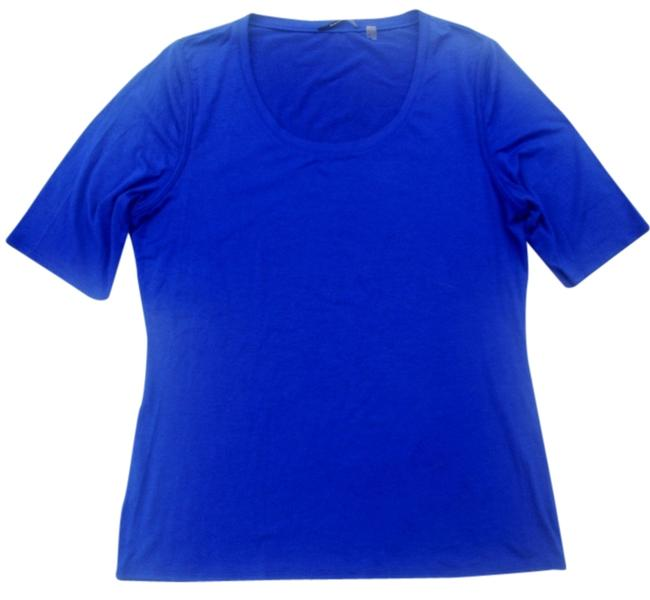 Elie Tahari Classic 3/4 Sleeve Knit Blouse T Shirt Blue