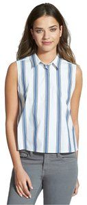 Rebecca Minkoff Stripe Cambridge Stretchy Janey Sleeveless Button Down Shirt WHITE STRIPE