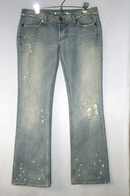 Guess Distressed Paint Splatters Rips Boot Cut Jeans-Distressed
