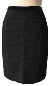 Marc by Marc Jacobs Wool Blend Textured Velvet Trim Pencil Skirt black