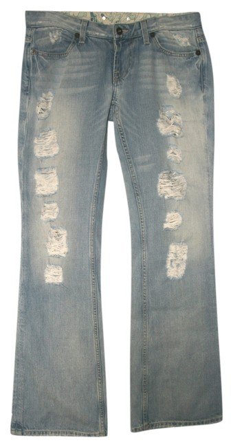 Guess Ripped Distressed Boot Cut Jeans-Distressed