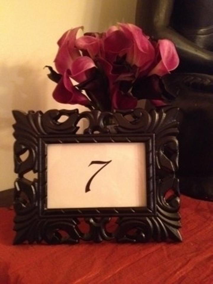 black ornate baroque 4x6 frames table numbers reception