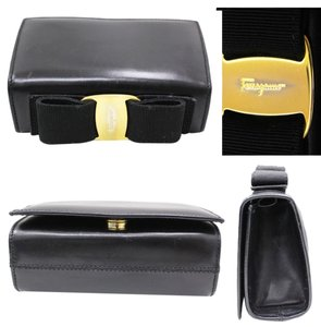 Salvatore Ferragamo Rare Evening Leather Clutch Holiday Bow Adjustable Date Night Day To Night Cross Body Bag