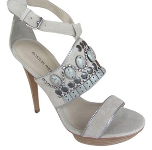 Boston Proper Rhinestone Embellished Silver Gray High Heel Gray/Silver Platforms