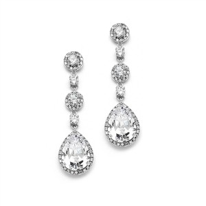Mariell Silver Cz Drop Plated and Formal Earrings