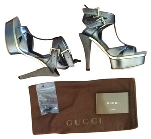 Gucci Metallic Pewter/bronze Sandals