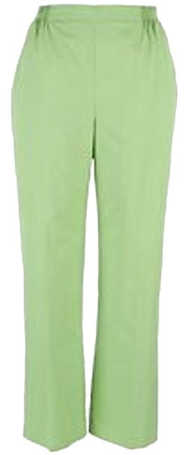 Alfred Dunner Straight Leg 2 Front Pockets Elastic Waist Flat-front Fiji Collection Trouser Pants Green