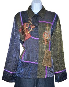 Draper's and Damon's Crush Fabric Floral Embroidered Sequins Patchwork Button Down Shirt Multi