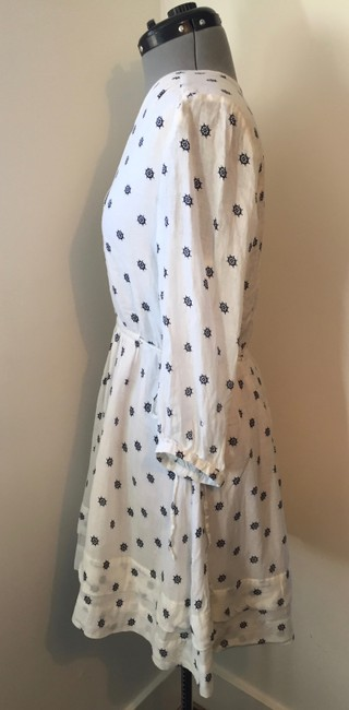 Quiksilver short dress White and Navy V-neck Cotton Summer Sundress on Tradesy