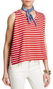 Free People Muscle Stipe 4th Of July Top RED AND WHITE